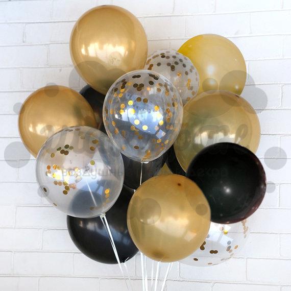 fc2c1b6653d2 Облако золото-черных шаров с конфетти - купить в Москве   SharFun.ru